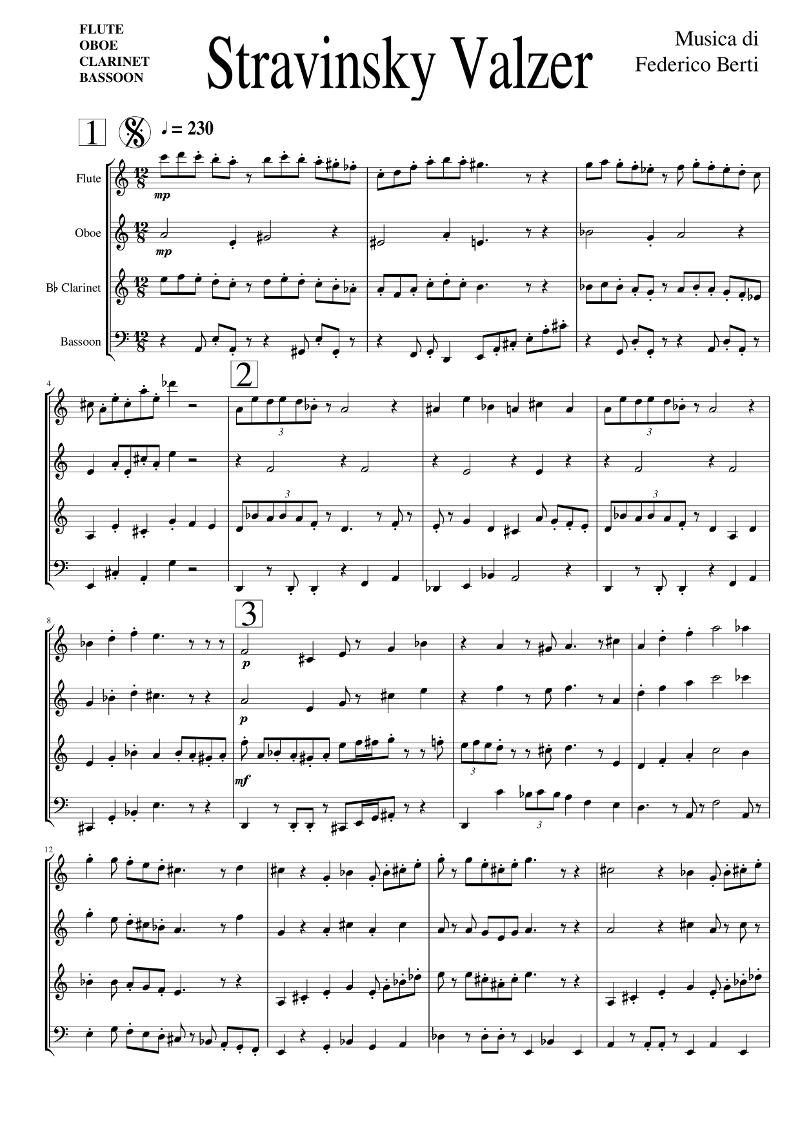 "Spartito musicale ""Stravinsky Valzer"""